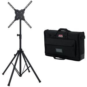 Gator Standard Adjustable Quadpod TV Monitor Stand 65 w/ Gator 19-24 Nylon TV Case
