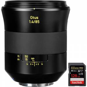 Zeiss Otus 85mm f/1.4 Apo Planar T ZE Lens for Canon EF Mount + 128GB Memory Card