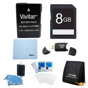 Special 8GB Card and EN-EL14 Battery Value Kit for the Nikon p7000, p7100, d3200, d5200