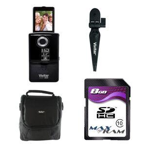 Vivitar iTwist 805DVR HD 2ViewScreen Digital Camcorder - Black - Bundle
