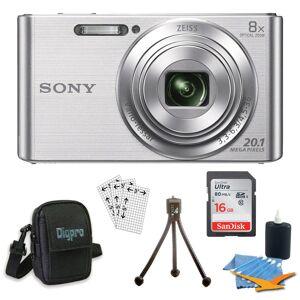 Sony DSC-W830 Cyber-shot Silver Digital Camera 16GB Bundle