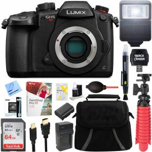 Panasonic LUMIX GH5S C4K Mirrorless ILC Camera Body w/Wi-Fi Bluetooth + 64GB Memory Bundle