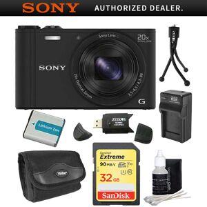 Sony Cyber-shot DSC-WX350/B Black Digital Camera 32GB Bundle