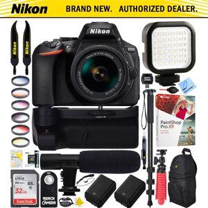Nikon D5600 DX-Format DSLR Camera + 18-55mm Lens Battery Grip & Mic Pro Video Bundle