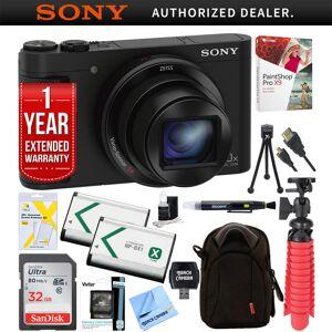 Sony Cyber-shot HX80 Compact Digital Camera + 32GB Dual Battery Accessory Bundle