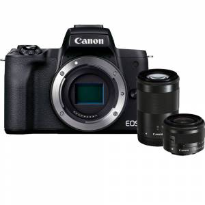 Canon EOS M50 Mark II Mirrorless Digital Camera w/ 15-45mm and 55-200mm Lenses (Black)