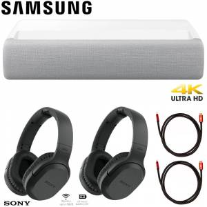 Samsung 120 The Premiere LSP7T 4K Smart Laser Projector w/ Sony Headphones Bundle