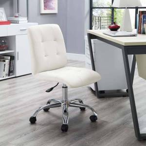 Modway EEI-1533-WHI Prim Ribbed Armless Mid Back Swivel Office Chair, White