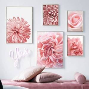 pink rose peony chrysanthemum cactus wall art canvas painting nordic posters and prints wall pictures for living room unframed