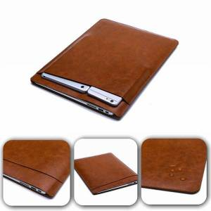 luxury retina sleeve case double-deck pouch pocket macbook lapbags pu leather protective cover for apple macbook air 11 13 12 inch