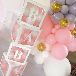 Cube transparent boxes love special party letter transparent boxes baby balloon packing box 4pcs creative diy birthday