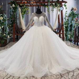 2020 new design simple wedding dresses o-neck long sleeve button back beading sequined lace illusion women wedding dress vesrido de noiva