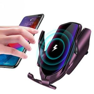 r2 smart wireless charger car vent infrared induction phone holder 10w fast charging clip for samsung huawei