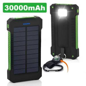 universal 20000mah portable solar charger banks waterproof solar panel battery chargers with ultra-thin highlight led for all cell phone