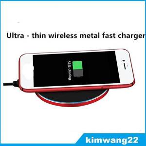 ultra-thin metal qi wireless faster charger for samsung s8 plus for iphone x 8 and other brands of mobile phones