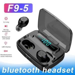 f9-5 tws wireless bluetooth 5.0 earphone hifi bass stereo touch earbuds headphones with led indigital charging box retail package