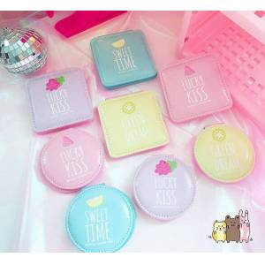 Candy 1pcs candy color pu mirrors portable pocket mirror colorful fold double sides personalized compact mirror