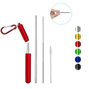 eimai stainless steel drinking straw portable straw for travel reusable collapsible metal with brush