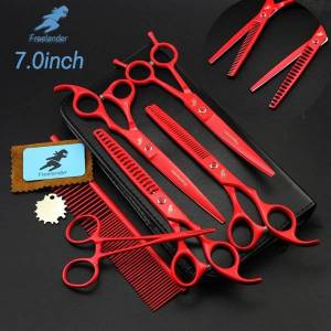 """7 """"professional pet grooming kit, direct and thinning scissors and curved pieces 4 pieces. kit for pet grooming services,"""