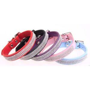 wholesale - pet dog cat collars leads colorful rhinestone diamond pu leather crocodile pattern white s/m/l