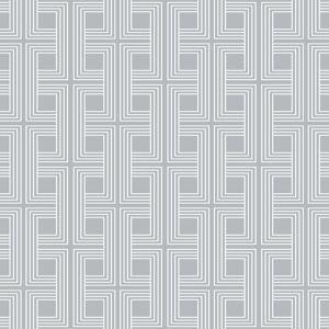 Seabrook Designs Interlocking Squares Cork Metallic Silver Wallpaper  - gray