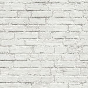 NextWall Peel & Stick Vintage White Brick Wallpaper  - white