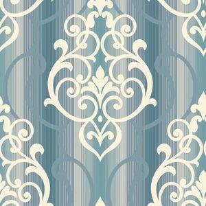 Seabrook Designs Feldspar Damask White Glitter & Blue Wallpaper  - blue