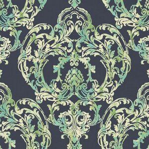 Seabrook Designs Roxen Damask Navy & Mint Wallpaper  - blue
