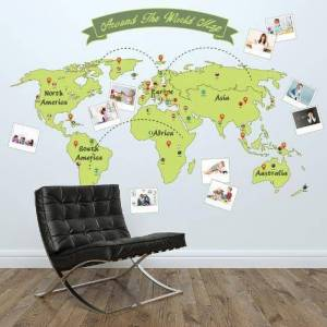 Art.com Wall Decal: Around The World Map : 45x65in