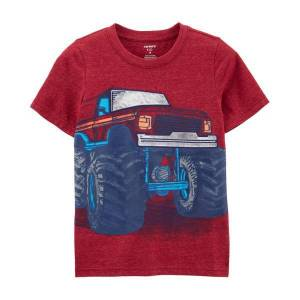 Carter's Boy's Monster Truck Snow Yarn Tee  - Red - Size: 7