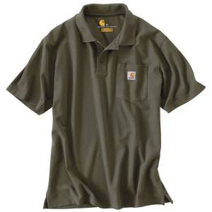 Carhartt Men's Short Sleeve Contractor's Work Pocket Polo Shirt  - Green - Size: Large