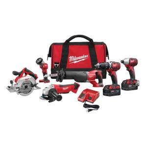 Milwaukee 2696-26 M18 18V Lithium-Ion Cordless 6-Tool Combo Kit with Contractor Bag and Charger  - Red