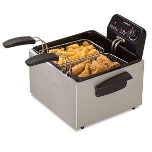 Presto Stainless Steel Dual Basket ProFry Immersion Element Deep Fryer  - White