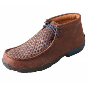 TWISTED X BOOTS Twisted X Mens Brown/Blue Driving Moccasins 12W