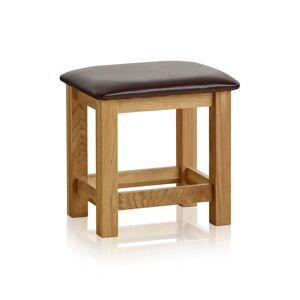 Oak Furniture Land Bevel Natural Solid Oak and Leather Dressing Stool - Oak Furnitureland