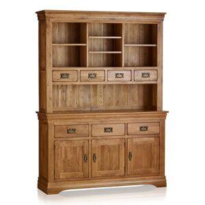 Oak Furniture Land French Farmhouse Rustic Solid Oak Large Dresser - Oak Furnitureland
