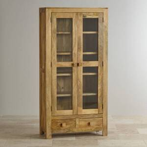Oak Furniture Land Mantis Light Natural Solid Mango Glazed Display Cabinet - Oak Furnitureland