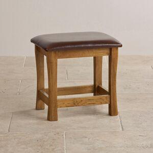 Oak Furniture Land Orrick Rustic Solid Oak and Leather Dressing Table Stool - Oak Furnitureland