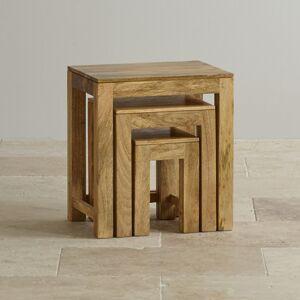 Oak Furniture Land Mantis Light Natural Solid Mango Nest of Tables - Oak Furnitureland