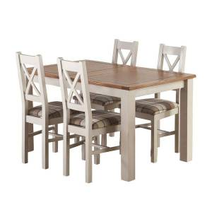 Oak Furniture Land Kemble Rustic Solid Oak and Painted Extending Dining Table and 4 - Oak Furnitureland