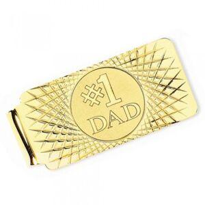 Allurez Number One Dad Money Clip Plain Metal 14k Yellow Gold