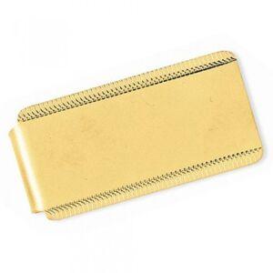 Allurez Edged Design Satin Polished Money Clip Plain Metal 14k Yellow Gold