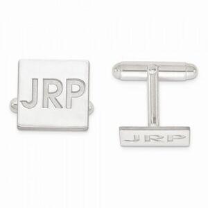 Allurez Recessed Letters Monogram Initial Cufflinks in 14k White Gold