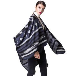 other Women Poncho Scarf Cardigan Sweater Geometrical Print Warm