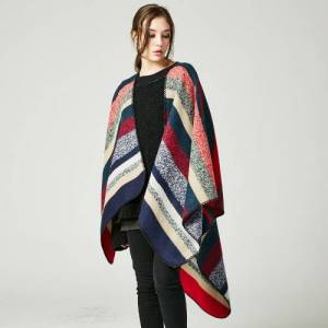 other Women Poncho Scarf Cardigan Sweater Striped Warm Cape Shawl Long Scarves Pashmina Outwear