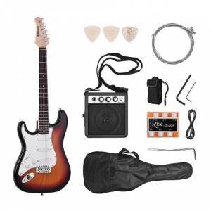 ammoon Electric Guitar Solid Wood Paulownia Body Maple Neck 21 Frets 6 String with Speaker Pitch Pipe Guitar Bag Strap Picks Left Hand