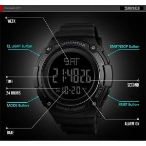 SKMEI 1346 Men Analog Digital Watch Fashion Casual Sports Wristwatch 2 Time 5ATM Waterproof Leather Strap Backlight Multifunctional Watches Relogio Masculino  - 11281