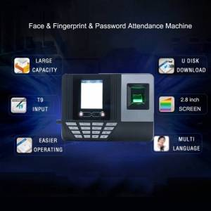 other Face Fingerprint Password Attendance Machine Employee Checking-in Payroll Recorder 2.8 inch LCD Screen DC 5V Facial Recognition Time Attendance Clock