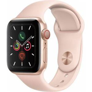 Apple Watch Series 5 (GPS + Cellular) 40mm Gold Aluminum Case with Pink Sand Sport Band - Gold Aluminum