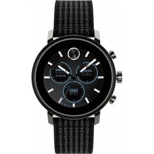 Movado - Connect 2.0 Smartwatch 42mm Ion-Plated Stainless Steel - Gunmetal With Black Velcro Fabric Strap